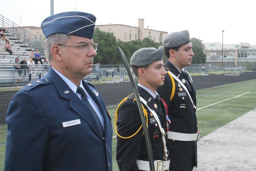 Outgoing Brigade Commander patrick Urrutia and incoming Commander Michael Marotta.