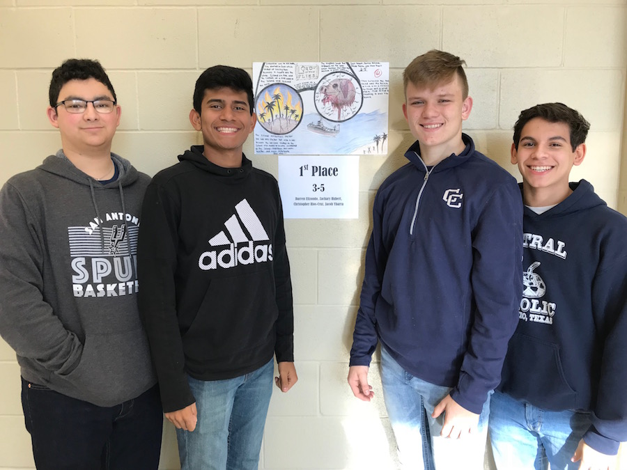 Mr. Cassler's Graphic Project 1st Place award winners from left to right: Darren Elizondo, Christopher Rios-Cruz, Zachary Hubert, and Jacob Ybarra.