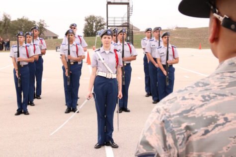 The Machine and Color Guard impress in JROTC Skills Meet at Central Catholic High School
