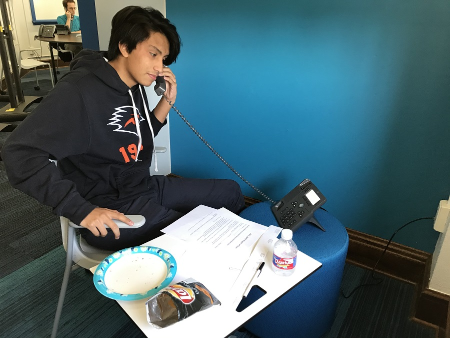 "Students man phones for ""Thank-a-Thon"" effort"