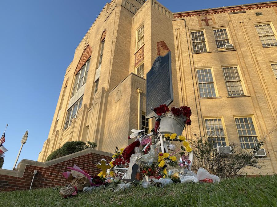 Front of school now memorial